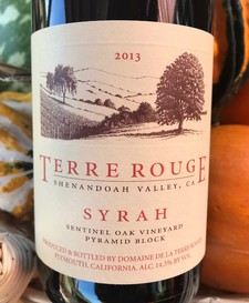 2013 TERRE ROUGE Syrah, Sentinel Oak Vineyard, Pyramid Block