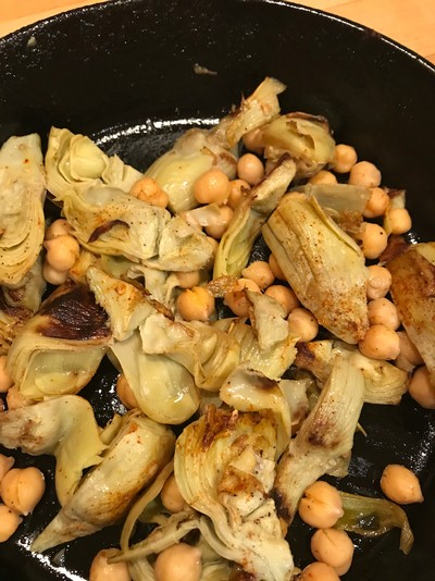 Pan-Roasted Artichoke Hearts and Chickpeas
